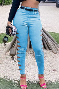 Sky Blue Sexy Solid Split Joint Skinny Mid Waist Pencil Solid Color Bottoms