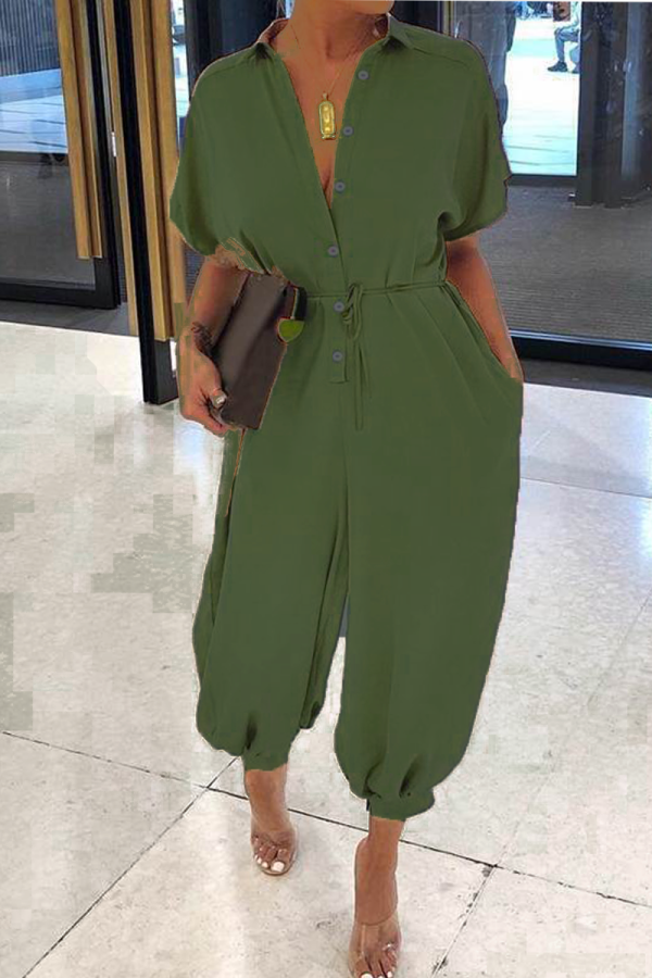 Green Casual Solid Split Joint Turndown Collar Harlan Jumpsuits