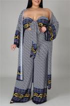 Grey Fashion Casual Print Bandage Plus Size Three-piece Set