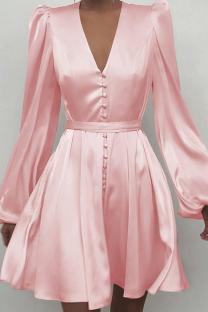 Pink Sexy Print Split Joint V Neck Cake Skirt Dresses