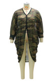 Army Green Fashion Casual Camouflage Print Asymmetrical V Neck Plus Size Overcoat