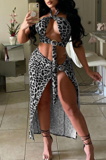 Black Sexy Print Bandage Hollowed Out Split Joint Metal Accessories Decoration Halter Sleeveless Two Pieces