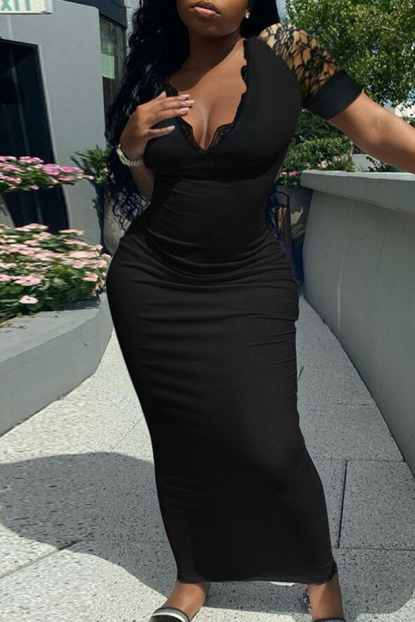 Black Fashion Solid Split Joint V Neck Short Sleeve Dress