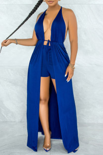 Royal Blue Sexy Print Hollowed Out Split Joint Backless Slit Asymmetrical Sleeveless Two Pieces