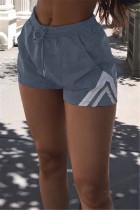 Grey Casual Solid Split Joint Regular Mid Waist Shorts