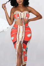 Red Sexy Print Split Joint Strapless Sleeveless Two Pieces