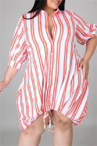 Orange Fashion Casual Plus Size Striped Print Basic Turndown Collar Shirt Dress