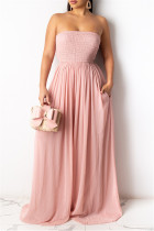 Pink Sexy Casual Solid Backless Strapless Regular Jumpsuits