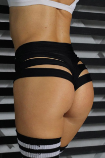 Black Sexy Solid Hollowed Out Skinny High Waist Pencil Solid Color Bottoms