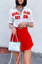 Red Fashion Casual Letter Print Basic Turndown Collar Short Sleeve Two Pieces