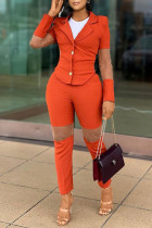 Orange Fashion Casual Solid Split Joint Turndown Collar Long Sleeve Two Pieces