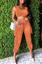 Orange Casual Solid Split Joint Spaghetti Strap Sleeveless Two Pieces