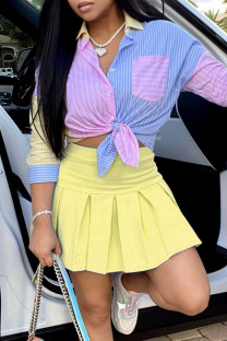 Yellow Fashion Sexy Patchwork Basic Turndown Collar Long Sleeve Two Pieces