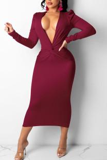 Burgundy Sexy Solid Split Joint Fold V Neck Pencil Skirt Dresses