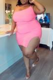 Black Fashion Sexy Plus Size Solid Backless Slit One Shoulder Sleeveless Dress