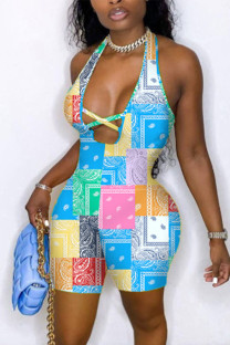 Colour Sexy Print Hollowed Out Split Joint Backless Halter Skinny Jumpsuits