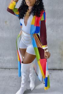 Multicolor Casual Plaid Print Split Joint Outerwear