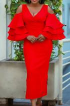 Red Fashion Solid Hollowed Out Slit V Neck Long Dress