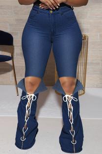 Deep Blue Fashion Casual Solid Bandage Slit Plus Size Jeans
