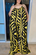 Yellow Casual Print Split Joint Backless Spaghetti Strap Loose Jumpsuits