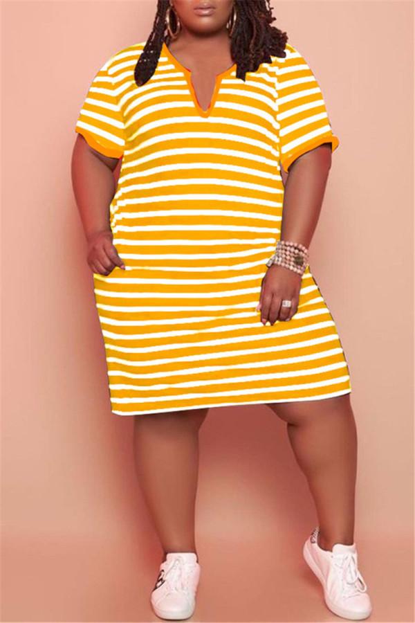 Yellow Fashion Casual Plus Size Striped Print Basic V Neck Short Sleeve Dress