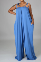 Blue Casual Solid Split Joint Spaghetti Strap Straight Jumpsuits