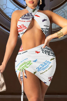 White Fashion Sexy Print Hollowed Out Backless Halter Sleeveless Two Pieces