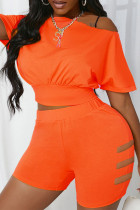 Orange Casual Solid Split Joint O Neck Short Sleeve Two Pieces