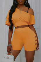 Yellow Casual Solid Split Joint O Neck Short Sleeve Two Pieces