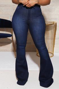 Dark Blue Fashion Casual Solid Basic Mid Waist Regular Denim Jeans
