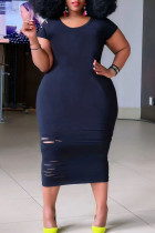 Black Casual Ripped Split Joint O Neck Straight Plus Size Dresses