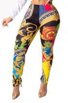 Black Elastic Fly Sleeveless Mid Print Skinny Pants Pants