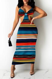 Multicolor Fashion Sexy Print Backless V Neck Sling Dress