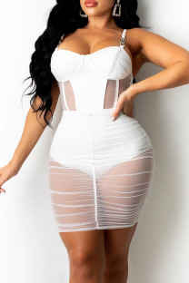 White Sexy Solid Split Joint See-through Fold Spaghetti Strap Pencil Skirt Dresses