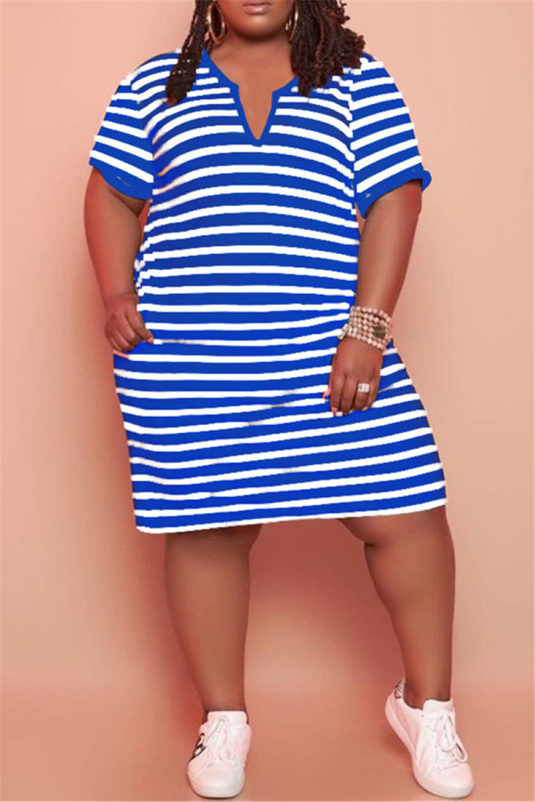 Light Blue Fashion Casual Plus Size Striped Print Basic V Neck Short Sleeve Dress