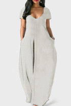 Grey Casual Solid Split Joint Pocket V Neck Short Sleeve Dress Dresses