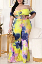 Yellow Fashion Sexy Print Tie Dye Backless Off the Shoulder Plus Size Two Pieces