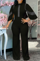 Black Fashion Casual Solid Split Joint See-through Half A Turtleneck Regular Jumpsuits