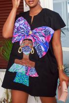 Black Casual Print Split Joint V Neck Straight Dresses