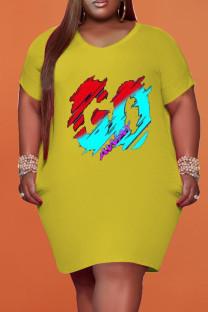 Yellow Fashion Casual Plus Size Print Basic V Neck Short Sleeve Dress