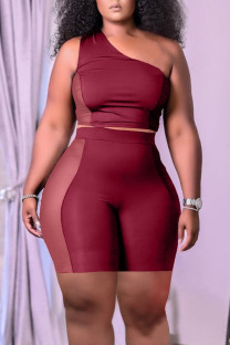 Burgundy Casual Solid Split Joint See-through Oblique Collar Sleeveless Two Pieces