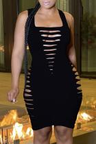 Black Sexy Solid Split Joint Pencil Skirt Dresses