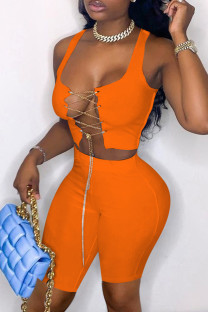 Orange Fashion Sexy Solid Hollowed Out Chains U Neck Sleeveless Two Pieces