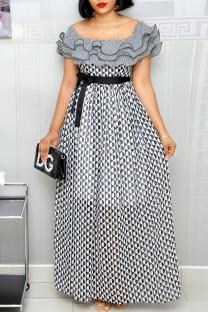 Black Fashion Casual Print Split Joint Square Collar Short Sleeve Dress