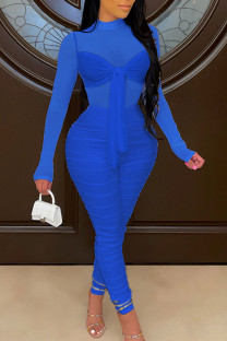 Blue Sexy Solid Bandage Split Joint See-through Fold O Neck Skinny Jumpsuits
