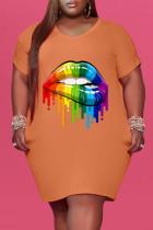 Orange Fashion Casual Plus Size Lips Printed Basic V Neck Short Sleeve Dress