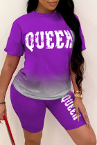 Purple Fashion Casual Gradual Change Letter Print Basic O Neck Short Sleeve Two Pieces