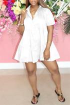 White Fashion Casual Solid Basic Turndown Collar Short Sleeve Dress