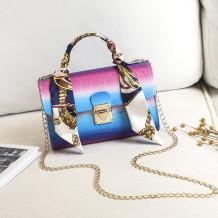 Blue Fashion Casual Gradual Change Chains Messenger Bag