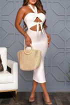 White Fashion Sexy Solid Hollowed Out Backless Halter Strapless Dress